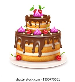 Birthday cake with chocolate creme and red cherries fruits isolated on white background. Sweet dessert food for holiday celebration or children party. Eps10 vector illustration.