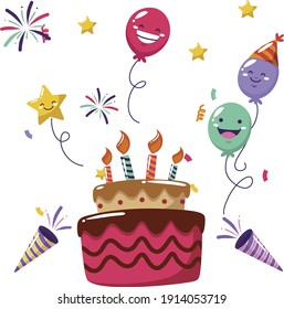 Birthday cake with colorful candles, Vector illustration
