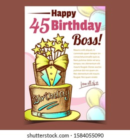 Birthday Cake Decorated In Suit Form Banner Vector. Boss Happy Birthday Festive Pie For Men Decorate With Bow Tie And Stars Template Hand Drawn In Vintage Style Colored Illustration