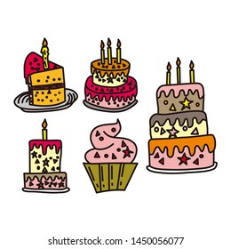 Birthday Cake Design Graphic Template Vector