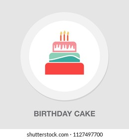 birthday cake, birthday dessert - vector bakery symbol, delicious sweet illustration