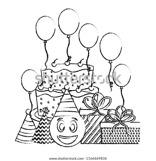 Strange Birthday Cake Emoticon Face Gifts Balloons Stock Vector Royalty Funny Birthday Cards Online Amentibdeldamsfinfo