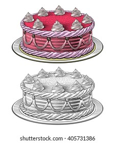 Birthday cake in engraving style, isolated on transparent background.