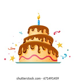 Birthday cake. Flat icon design. vector illustration