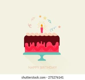 Birthday cake flat icon with long shadow - Happy Birthday