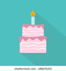 Birthday cake flat icon. Vector illustration