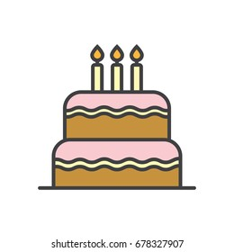 Birthday cake flat line icon.