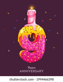 Birthday cake font number 9 with candle. Nine year anniversary. Tasty collection. Vector illustration