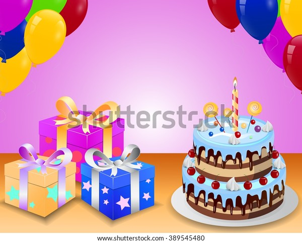 Magnificent Birthday Cake Gift Box Balloons Stock Vector Royalty Free 389545480 Funny Birthday Cards Online Chimdamsfinfo