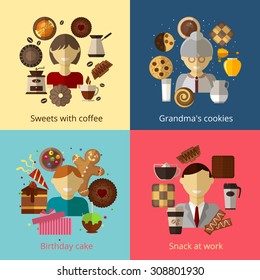 Birthday cake. Grandmas cookies. Sweets with coffee. Snack at work.  Chocolate and espresso, bake and cupcake, cook product, breakfast beverage and honey, vector illustration