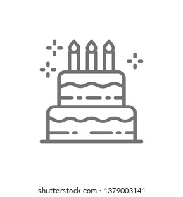 Birthday cake, holiday torte, sweet line icon.