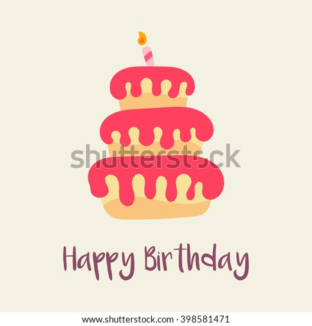Birthday Cake Icon Birthday Card Template Stock Vector Royalty Free