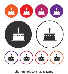 Birthday cake icon. Cake icon. Dessert icon. Cake with one candle. Button. Vector illustration