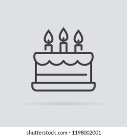 Birthday cake icon in flat style isolated on grey background. For your design, logo. Vector illustration.