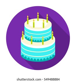 Birthday cake icon in flat style isolated on white background. Cakes symbol stock vector illustration.