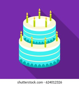 Birthday cake icon in flate style isolated on white background. Cakes symbol stock vector illustration.