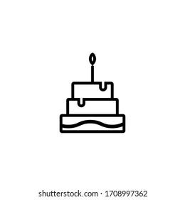 birthday cake icon outline style for your web design, logo, UI. illustration.