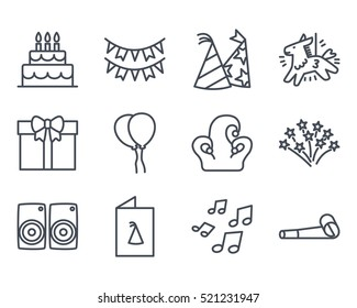 Birthday Cake Icon Outlined Line vector