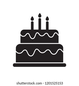 birthday cake icon in trendy flat design