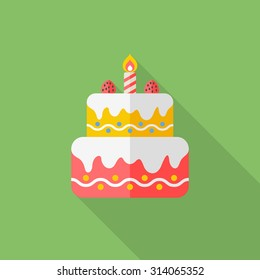 birthday cake icon, vector illustration. Flat design style with long shadow,eps10