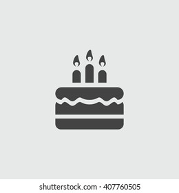Birthday cake icon vector illustration. Happy birthday. Cake for birthday celebration with three candles.