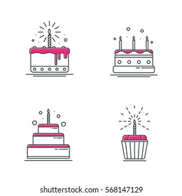 Birthday cake icons, line design. vector illustration.