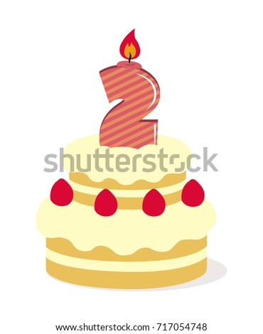 Birthday Cake Illustration 2 Years Old