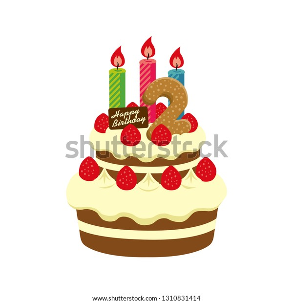 Pleasing Birthday Cake Illustration 2 Years Old Stock Vector Royalty Free Funny Birthday Cards Online Hendilapandamsfinfo