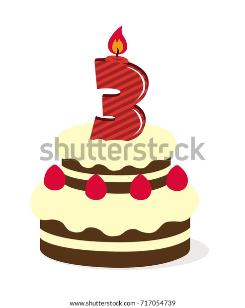 Awe Inspiring Birthday Cake Illustration 3 Years Old Stock Vector Royalty Free Funny Birthday Cards Online Overcheapnameinfo