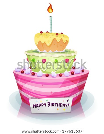 Birthday Cake Illustration Of A Cartoon Appetizing Mouth Watering And Anniversary Holidays