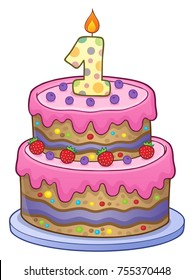 Birthday cake image for 1 year old - eps10 vector illustration.