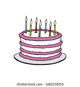 Birthday cake isolated on a white background in EPS10