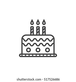 Birthday Cake Line Icon Stock Vector Royalty Free 444335977