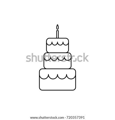 Birthday Cake Line Icon Outline Cake Vector Stock Vector Royalty