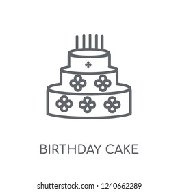 Birthday cake linear icon. Modern outline Birthday cake logo concept on white background from Birthday party and wedding collection. Suitable for use on web apps, mobile apps and print media.