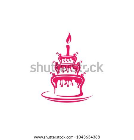 Birthday Cake Logo Design Template Stock Vector Royalty Free