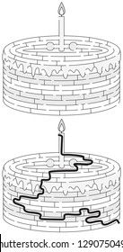 Birthday cake maze for kids with a solution in black and white