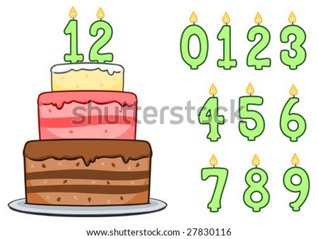 Birthday Cake Number Candles Includes Numbers Stock Vector Royalty