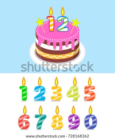 Birthday Cake With Number Candles Set Flat Illustration