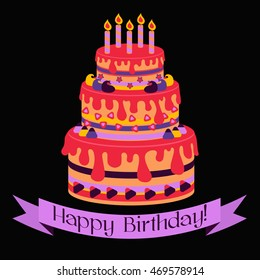 Birthday cake on birthday card with ribbons colorful vector illustration