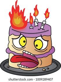Birthday Cake on Fire, Vector Illustration