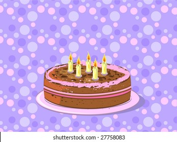 birthday cake on plate (editable layers)