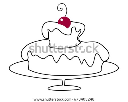 Birthday Cake One Line Drawing Stock Vector Royalty Free 673403248