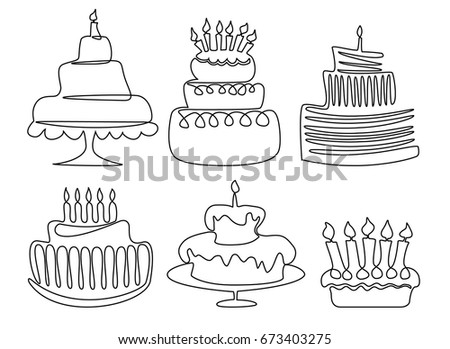 Birthday Cake One Line Drawing Stock Vector Royalty Free 673403275