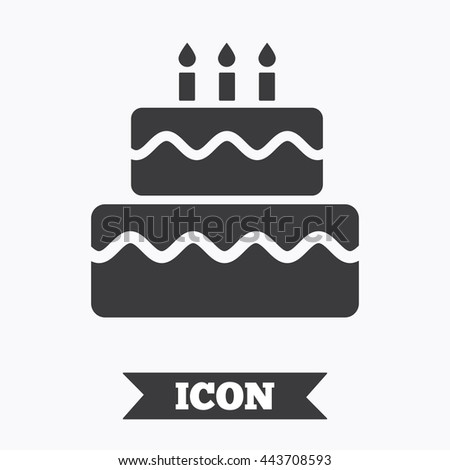 Birthday Cake Sign Icon With Burning Candles Symbol Graphic Design Element Flat