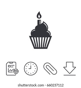Birthday cake sign icon. Cupcake with burning candle symbol. Report, Time and Download line signs. Paper Clip linear icon. Vector