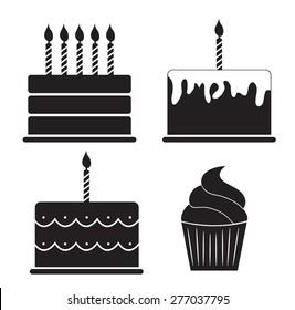 Birthday Cake Silhouette Set Vector Illustration EPS10