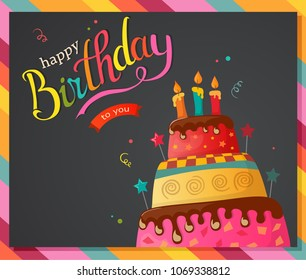 Birthday cake vector card with cake eps10
