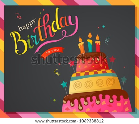 Birthday Cake Vector Card Cake Eps 10 Stock Vektorgrafik Lizenzfrei