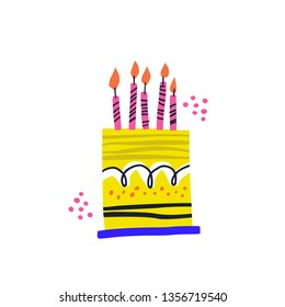 Birthday cake vector handdrawn illustration. Burning candles with lines ornament on B-day pie. Festive pastry isolated clip art for postcard. Five years anniversary celebration flat greeting card